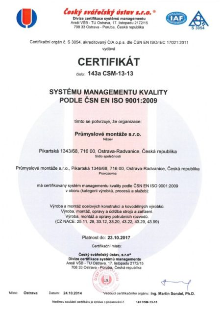 Certifikát managementu kvality podle ČSN EN ISO 9001:2009