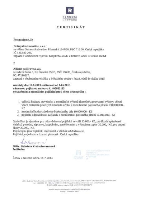 Pojistný certifikát
